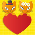 Romantic couple of two loving cats illustration Stock Image