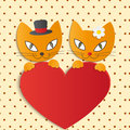Romantic couple of two loving cats illustration Royalty Free Stock Image