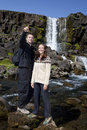 Romantic Couple By a Waterfall Royalty Free Stock Photo
