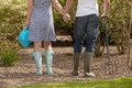 Romantic couple working in the garden Stock Photography