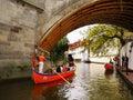 Romantic cruise touristic attraction prague prazske benatky venetian gondola on vltava river canal in taken on may Stock Photo