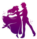 Romantic dance silhouette of prince and princess dancing together Royalty Free Stock Image