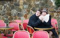 Romantic dating couple parisian outdoor cafe Royalty Free Stock Image