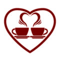 Romantic dating icon with two coffee cups. Royalty Free Stock Photo