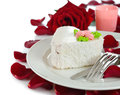 Romantic dessert cake and roses on a white background Stock Photo