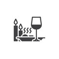 Romantic dinner with candles icon vector