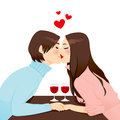 Romantic Dinner Kiss Stock Photo
