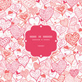 Romantic doodle hearts frame seamless pattern vector background with hand drawn elements Stock Photo