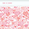 Romantic doodle hearts horizontal torn seamless vector pattern background with hand drawn elements Royalty Free Stock Photography