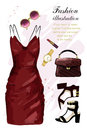 Romantic evening clothing set. Fashion clothes set with dress, shoes, hand bag, lipstick, sunglasses, watch. Sketch.