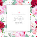 Romantic floral square vector design frame with peony, alstroemeria lily, mint eucaliptus on white.