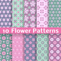 Romantic flower different vector seamless patterns Royalty Free Stock Photo