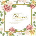 Romantic flowers wedding invitation template design Royalty Free Stock Photo