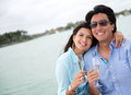 Romantic getaway couple in on a yacht Royalty Free Stock Photo