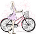 Romantic Girl with bicycle Stock Photography