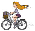 Romantic girl on bicycle illustration of a with flowers in the basket Royalty Free Stock Photography
