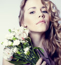 Romantic girl in flowers Royalty Free Stock Photos