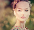Romantic girl outdoor beauty beautiful teenage model Royalty Free Stock Image