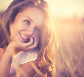Romantic girl outdoor beauty fresh outdoors nature Royalty Free Stock Image
