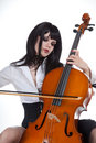 Romantic girl playing cello Royalty Free Stock Photos