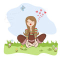 Romantic girl sitting barefoot in the grass Royalty Free Stock Photo