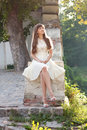 Romantic girl in a white dress Stock Image
