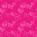 Romantic heart and butterfly  seamless Royalty Free Stock Photo