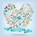 Romantic Heart with Flowers, Banner and Text