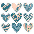 Romantic heart ornament collection Stock Image