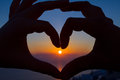 Romantic Heart in the Sunset Royalty Free Stock Image