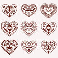 Romantic hearts vector hand drawn collection of henna tattoo set design element illustration Stock Images