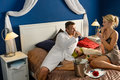 Romantic hotel room young couple sexy nightgown Royalty Free Stock Photo