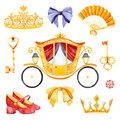 Romantic illustration with carriage princess decorated lovely flowers