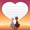 Romantic illustration with two cats vector graphics Stock Photography