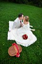 Romantic kiss bride and groom on wedding picnic Stock Photos