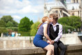 Romantic kiss in Paris Stock Photography