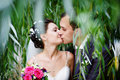 Romantic kiss on wedding walk Royalty Free Stock Photo