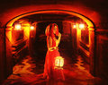 Romantic lady red holding big lantern dark dungeon Royalty Free Stock Image