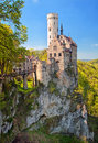 Romantic Lichtenstein Castle on the rock in Black Forest, German Royalty Free Stock Photo
