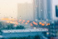 Romantic and lonesome mood near glass window in raining Royalty Free Stock Photo