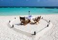 Romantic lunch setup on Maldivian beach Royalty Free Stock Photo