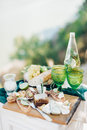 Romantic lunch with two green glasses Royalty Free Stock Photo