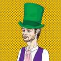 Romantic man portrait of a th century young with green topper hand drawn illustration aver a pop art comics background Royalty Free Stock Photos