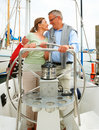 Romantic mature couple on a sea voyage Royalty Free Stock Image