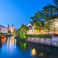 Romantic medieval ljubljana slovenia s city center the capital of europe night life on the banks of river ljubljanica where many Royalty Free Stock Image