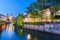 Romantic medieval ljubljana slovenia s city center the capital of europe night life on the banks of river ljubljanica where many Royalty Free Stock Photos