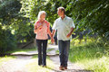Romantic middle aged couple walking along countryside path in daylight smiling at each other Stock Photo