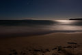 Romantic moonlight ocesn sand beach, long exposure