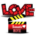 Romantic movie abstract colorful background with clapboard and the word love composed from red filmstrips theme Royalty Free Stock Images
