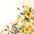 Romantic music background with yellow roses in vintage style